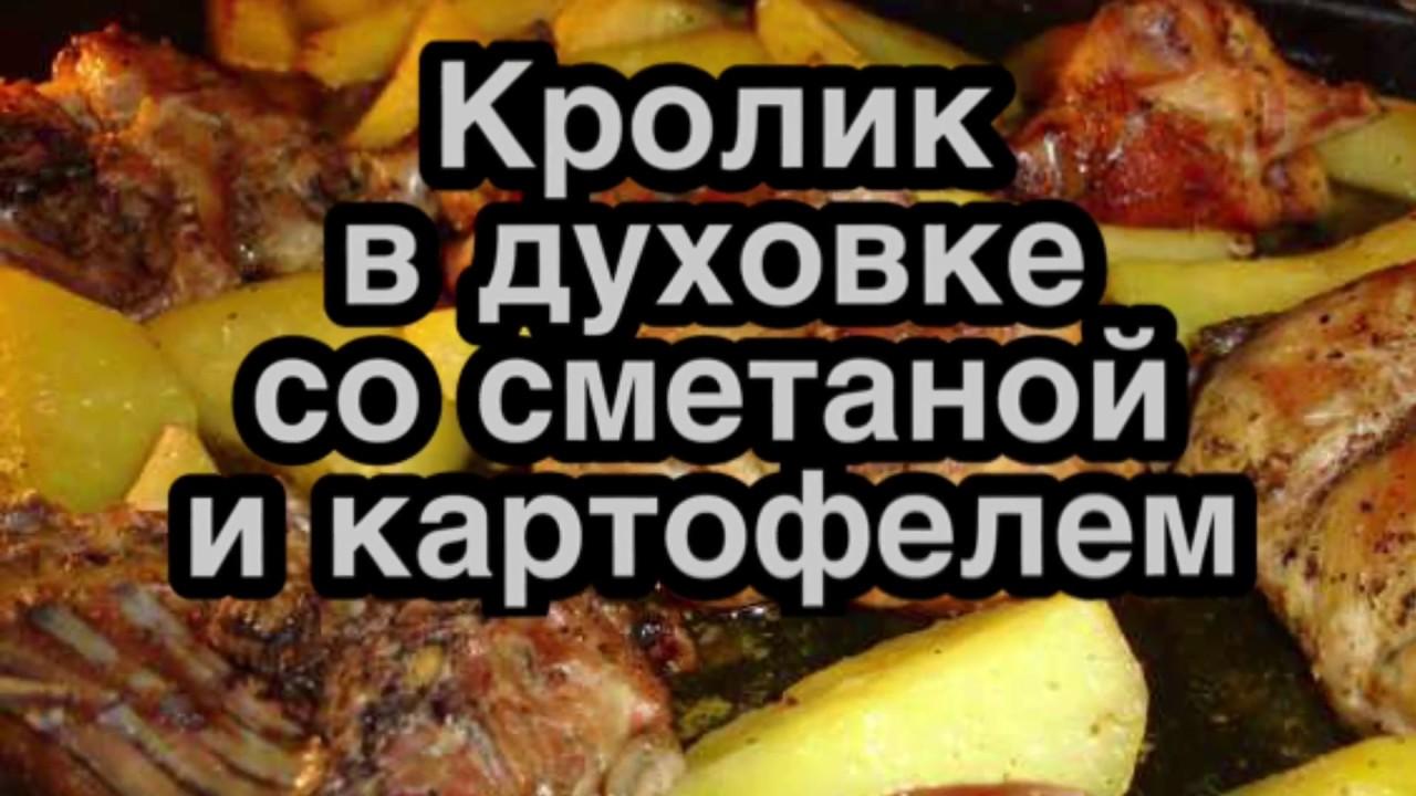 Кролик в духовке со сметаной и картофелем! Видео|рецепт как приготовить кролика в сметане