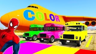 school bus color cars in spiderman cartoon with colors for kids big plane w children nursery rhymes