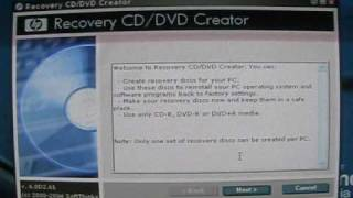 How to make Windows XP System Recovery Discs on HP PC tower