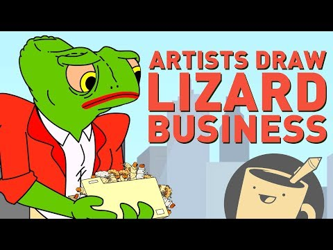 Drawing Lizards as Businesspeople | Cartoon Hell