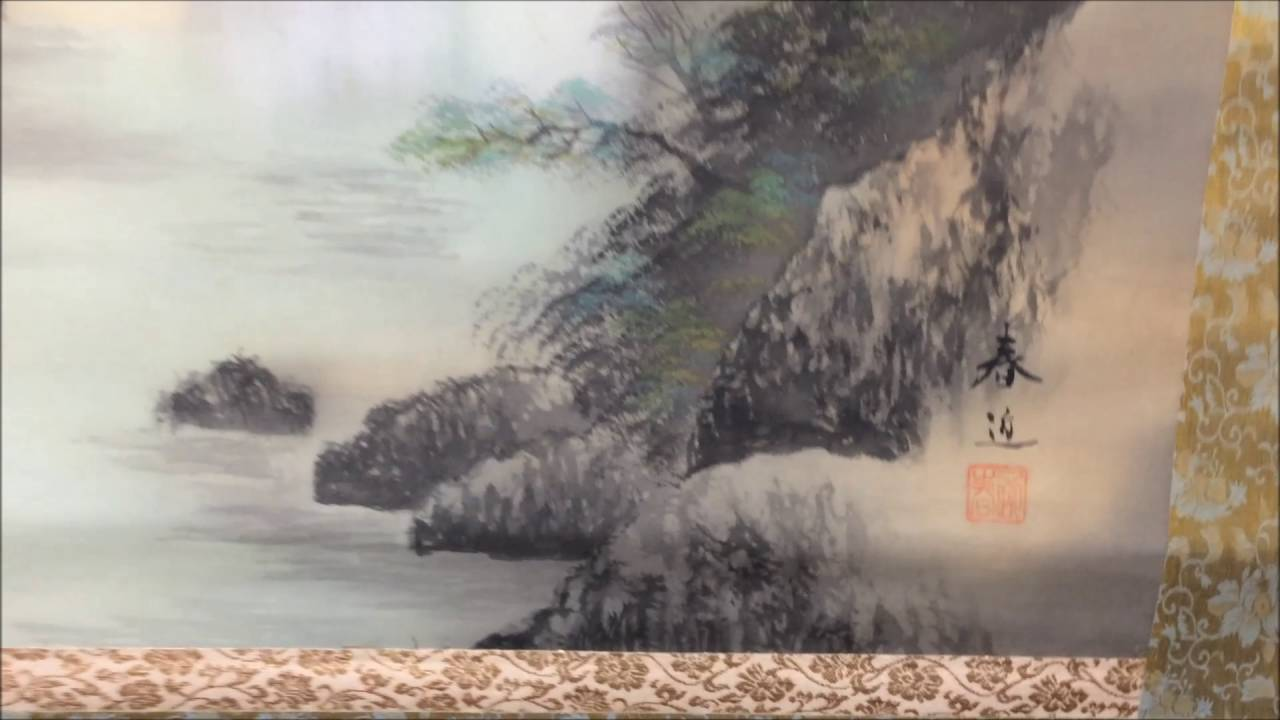 Color in japanese art - Japanese Old Hanging Scroll Kakejiku Painting Asian Art Color Mountain Landscape