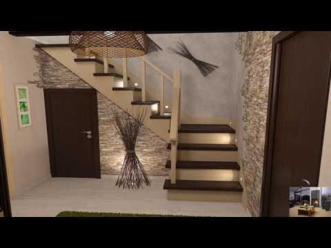 Интерьер с лестницей в частном доме