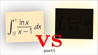integration with power series, integral of ln(x)/(x-1) from 0 to 1