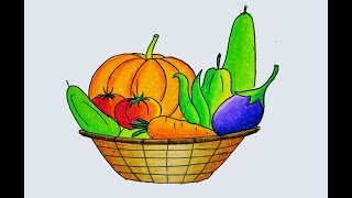 How to draw a Vegetables Basket easy and simple, Winter Vegetables drawing