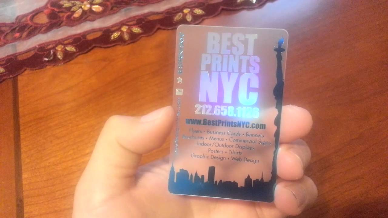 best prints nyc holographic and metallic translucent business card - Plastic Business Card Printing