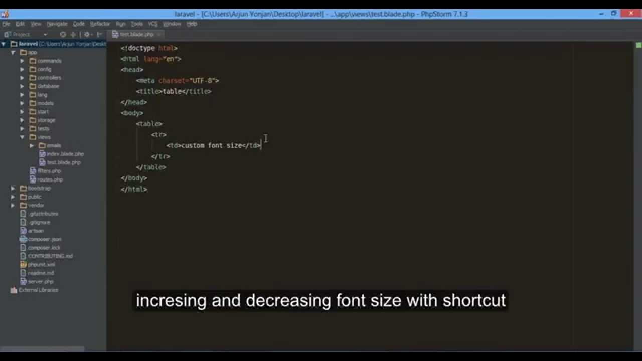 phpStorm 7 keymap custom shortcut increase decrease font size 720p ...