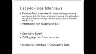 Research Brief – ML311 Face to Face Interviews