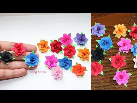 How To Make Small Paper Rose Flower -  DIY Handmade Craft - Paper Craft