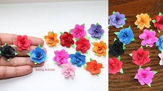 How To Make Small Paper Rose Flower -  DIY Handmade Craft - Paper Craft