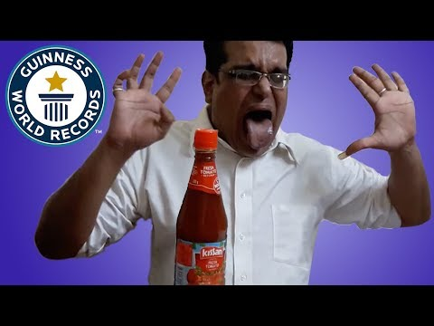 Fastest time to drink a bottle of ketchup - Guinness World Records