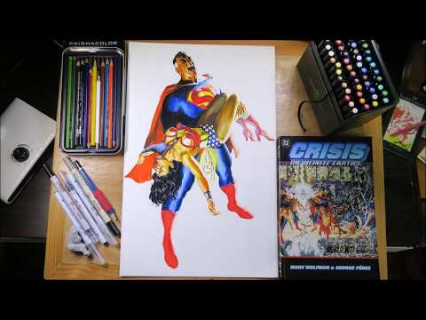 Justice League Recreation Drawing: Superman & Wonder Woman (George Perez & Alex Ross CRISIS)