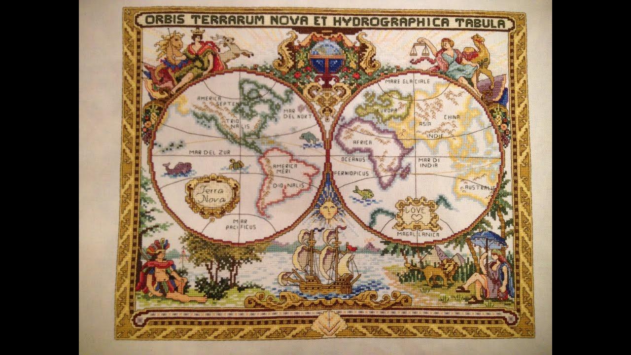 Вышивка крестом panna географическая карта мира
