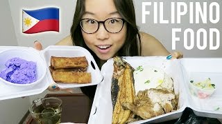 FILIPINO FOOD MUKBANG with chicken adobo, turon, ube ice cream