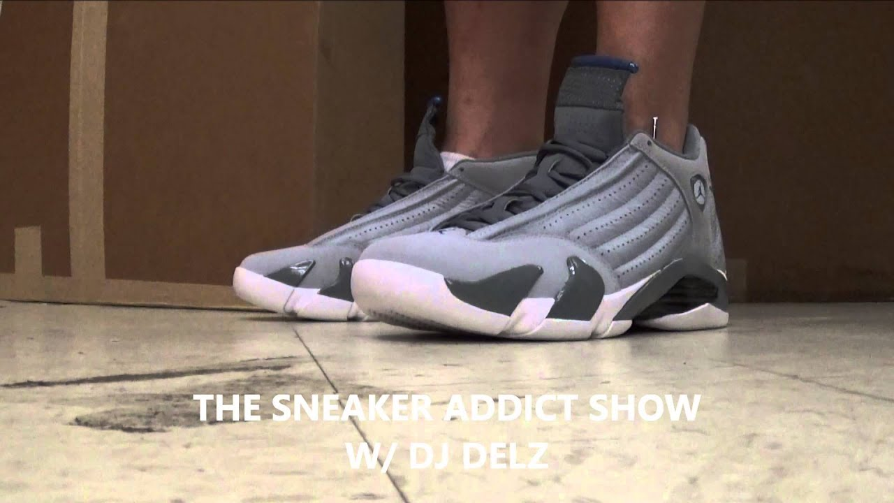 newest 47553 3ecb7 2014 Air jordan 14 Wolf Grey Sport Blue Sneaker On Foot With Dj Delz