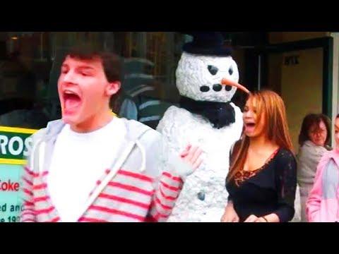 Scary Snowman Hidden Camera Prank US Tour 2013 (31 Minutes)