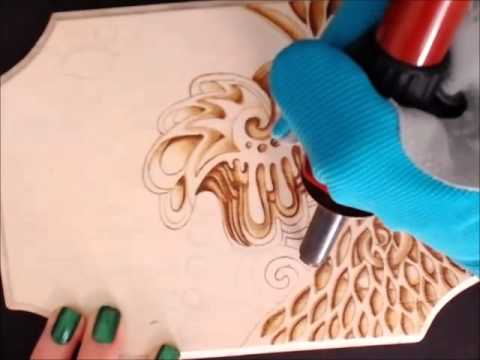 Pyrography Wood Burning Abstract Art Time Lapse