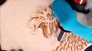Pyrography-Wood burning Abstract Art-Time lapse