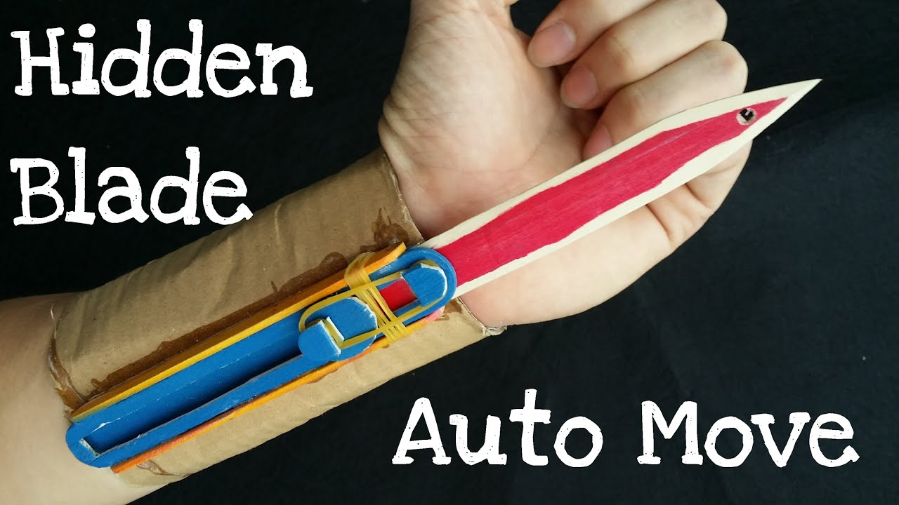 Long wooden craft sticks - How To Make The Full Automatic Hidden Blade Assassin S Creed Cardboard Wooden Sticks Youtube