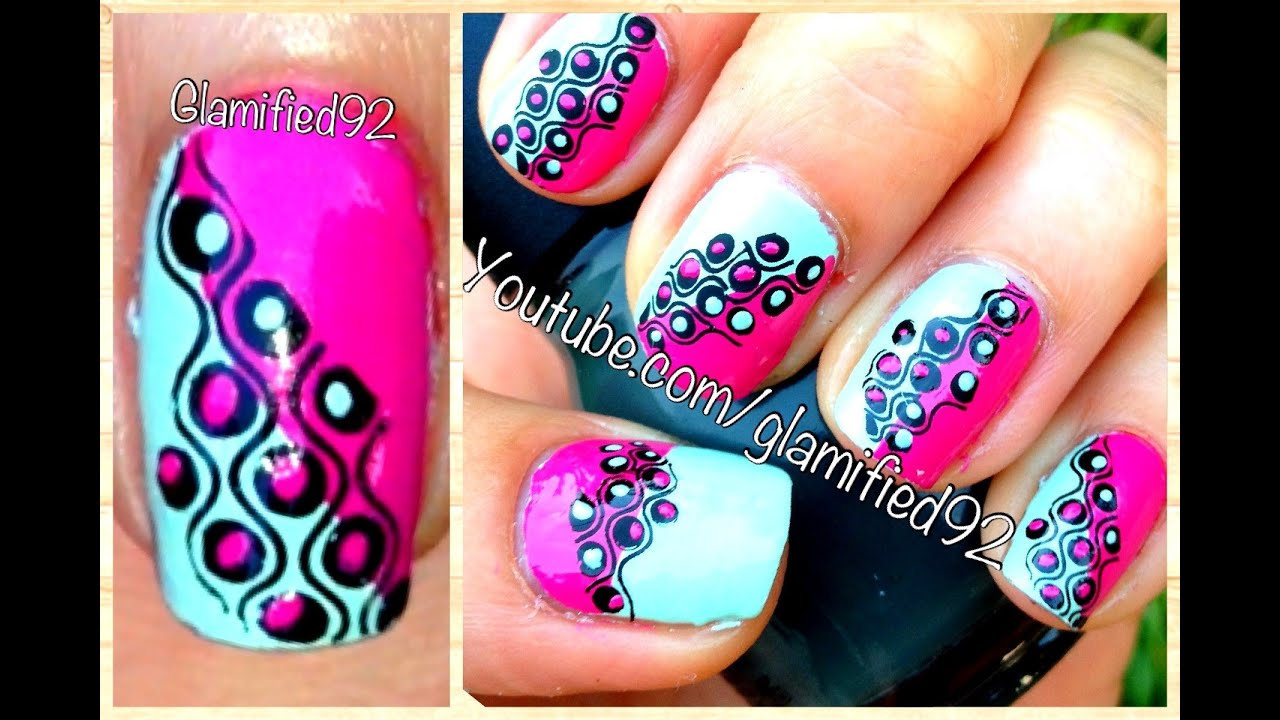 MINT and FUSCHIA Retro Nails. EASY! Konad/Bundle monster nail art ...