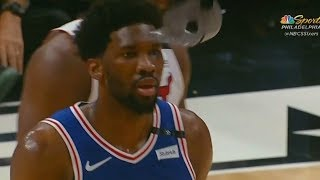Joel Embiid's Mask Breaks and Justise Winslow Tries To Break The Goggles After Stepping On Them!