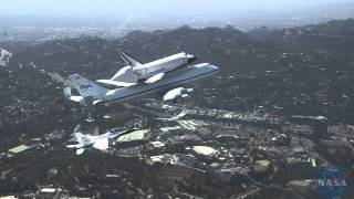 FA18 extended view of Space Shuttle Endeavour's flyover Southern California