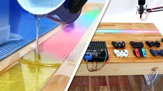 Rainbow Resin LED Desk DIY 🌈💡 (+ ultimate cable organization!)