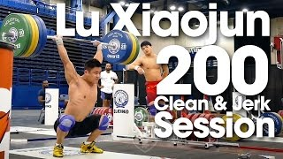 Lu Xiaojun 200kg Clean & Jerk Session Training Hall 2015 World Weightlifting Championships