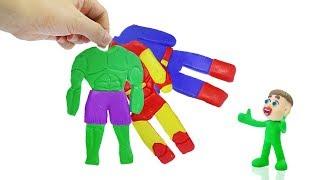 SUPERHERO BABY COSTUME DRESS UP 💖 Play Doh Stop Motion Cartoons