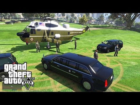 GTA 5 - SECRET SERVICE Escorts President Donald Trump (Cadillac Beast & Marine One Mods)