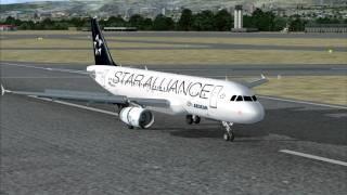 FSX landing (Makedonia Intl Airport, Thessaloniki)(Departure Airport : Stuttgart (EDDS, RWY 25) Arrival Airport : Thessaloniki (LGTS, RWY 16) Aircraft : Aegean Airlines Airbus A320, SX-DVQ Star Alliance livery., 2010-07-25T05:57:21.000Z)