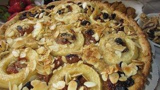 Рецепт - Пирог из песочного теста с яблоками, орехами  и сухофруктами