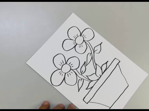 How To Draw A Flower Vase For Kids Youtube