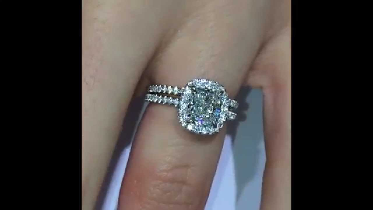 181 Ct Cushion Cut Diamond Halo Engagement Ring Rs61 With Eternity Band   Youtube