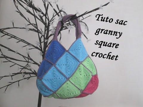 tuto sac carre granny square crochet bag granny square bolso cuadros crochet youtube. Black Bedroom Furniture Sets. Home Design Ideas