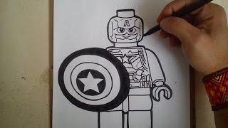 """COMO DIBUJAR AL CAPITAN AMERICA CIVIL WAR """"LEGO"""" / how to draw civil war america captain """"lego"""""""