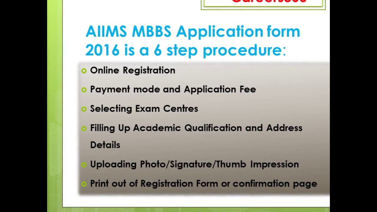 How to Fill AIIMS MBBS 2016 Application Form - YouTube Aiims Application Form Doents on