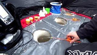 Зимняя рыбалка с палаткой и комфортом. Спасение от ветра и непогоды.