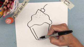 A Messy Art Room: How to Draw a Cupcake