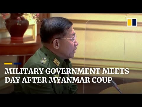 Myanmar junta leaders hold first meeting of military government the day after staging coup