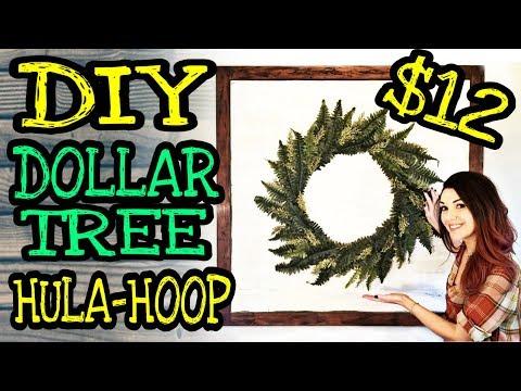 DIY Farmhouse Wall Decor / DIY Dollar Tree Farmhouse Hula Hoop Wreath