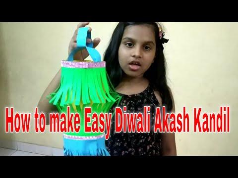 how to make Easy Diwali Akash Kandil/how to make Diwali lamp