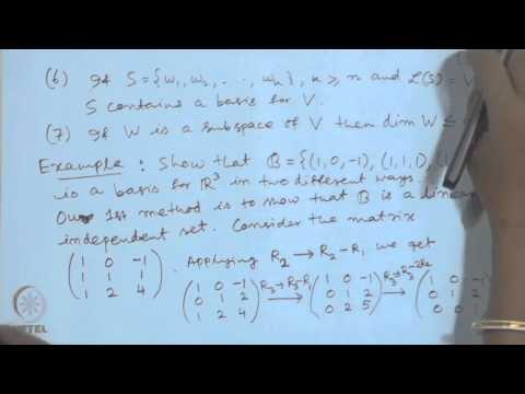Mod-01 Lec-03 Basis, Dimension, Rank and Matrix Inverse