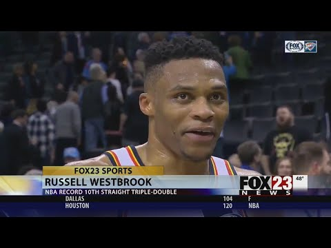 Russell Westbrook breaks NBA record with 10th straight triple-double