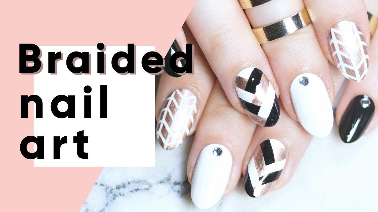 fall braided nail art