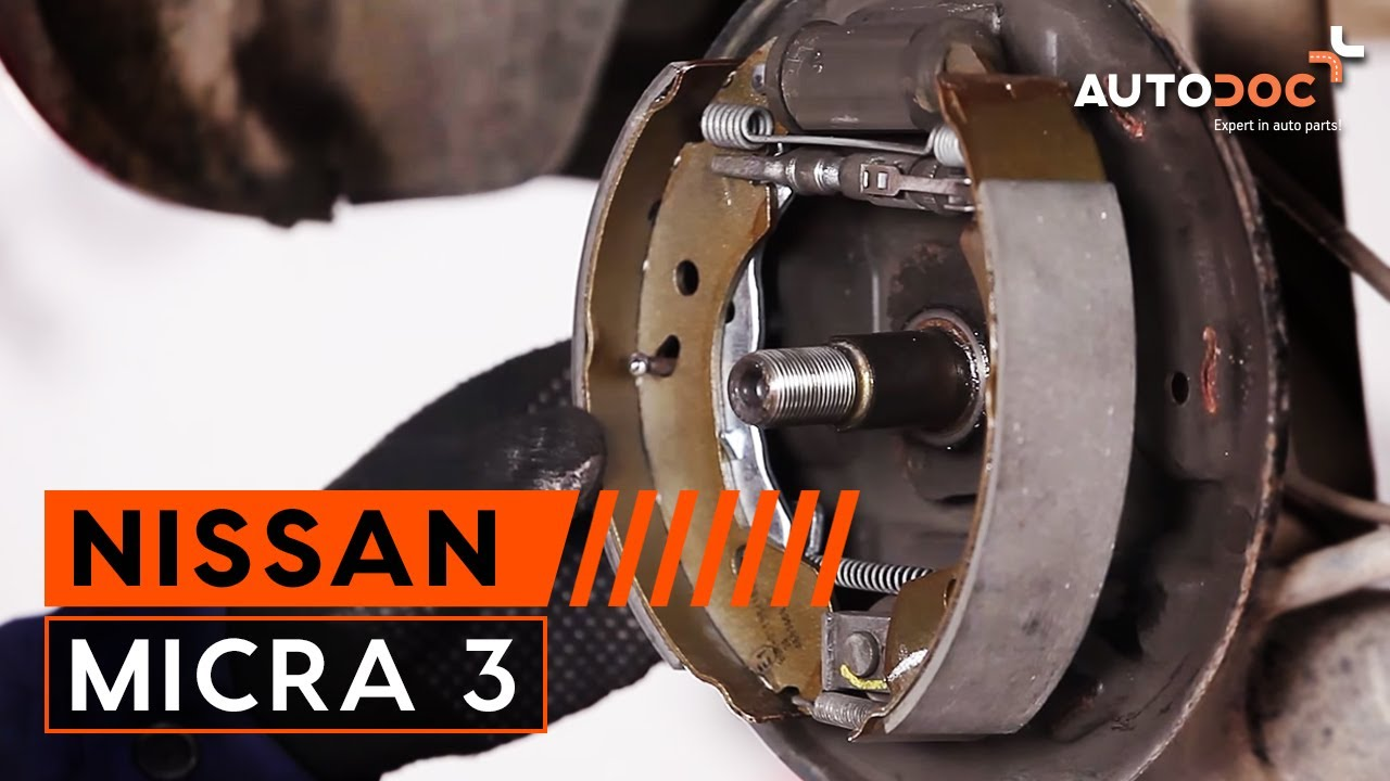 How to replace rear brake pads NISSAN MICRA 3 TUTORIAL ...