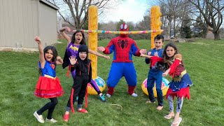 Superheroes Play Limbo Game challenge- family fun Activities