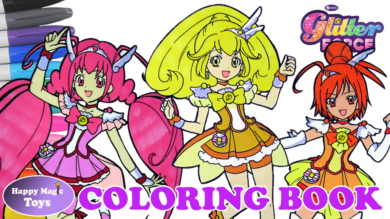 Glitter Force Coloring Book Compilation Lucky Sunny Peace ...