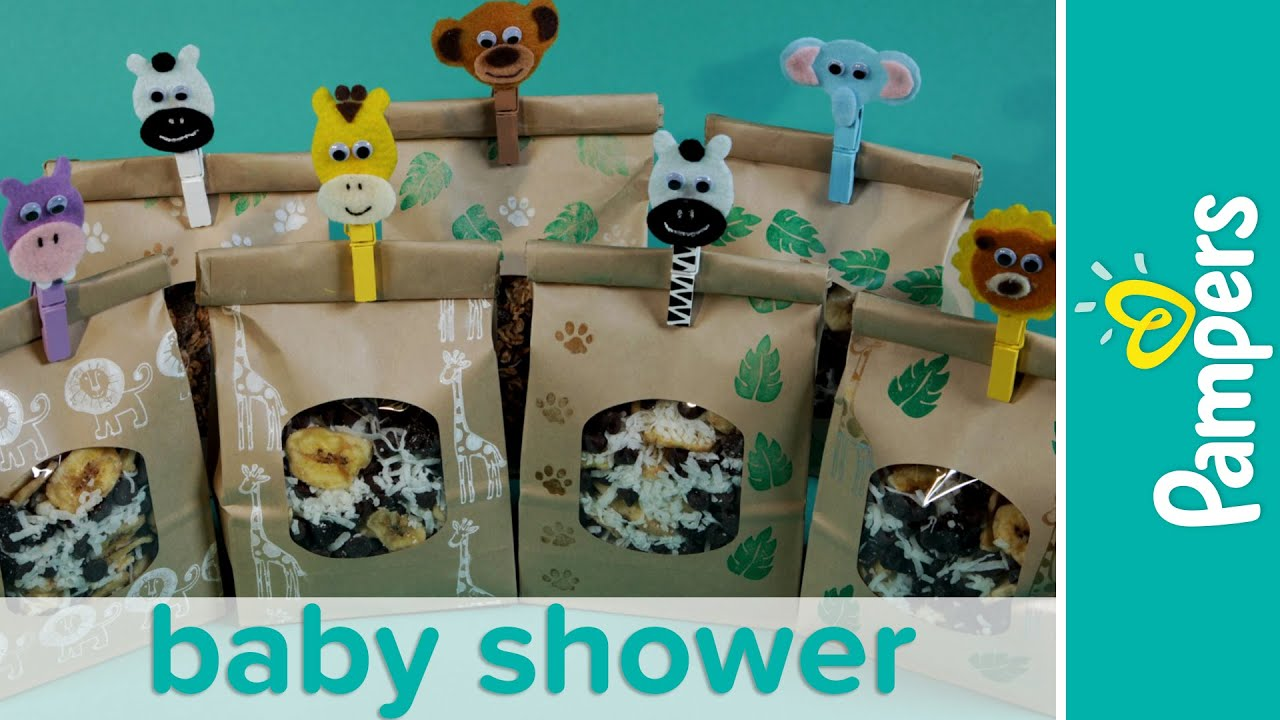 Jungle theme baby shower favor ideas homemade trail mix for Baby shower party junge