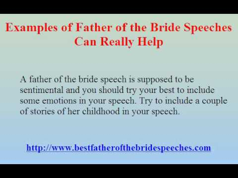 Examples Of Father Of The Bride Speeches Can Really Help - Youtube