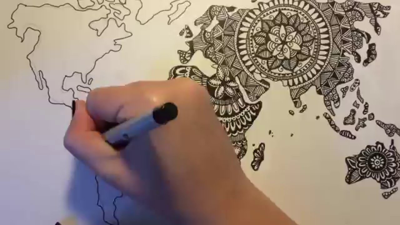 Zentangle doodle world map youtube gumiabroncs Gallery